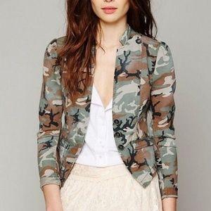 Free People Camouflage Blazer Jacket